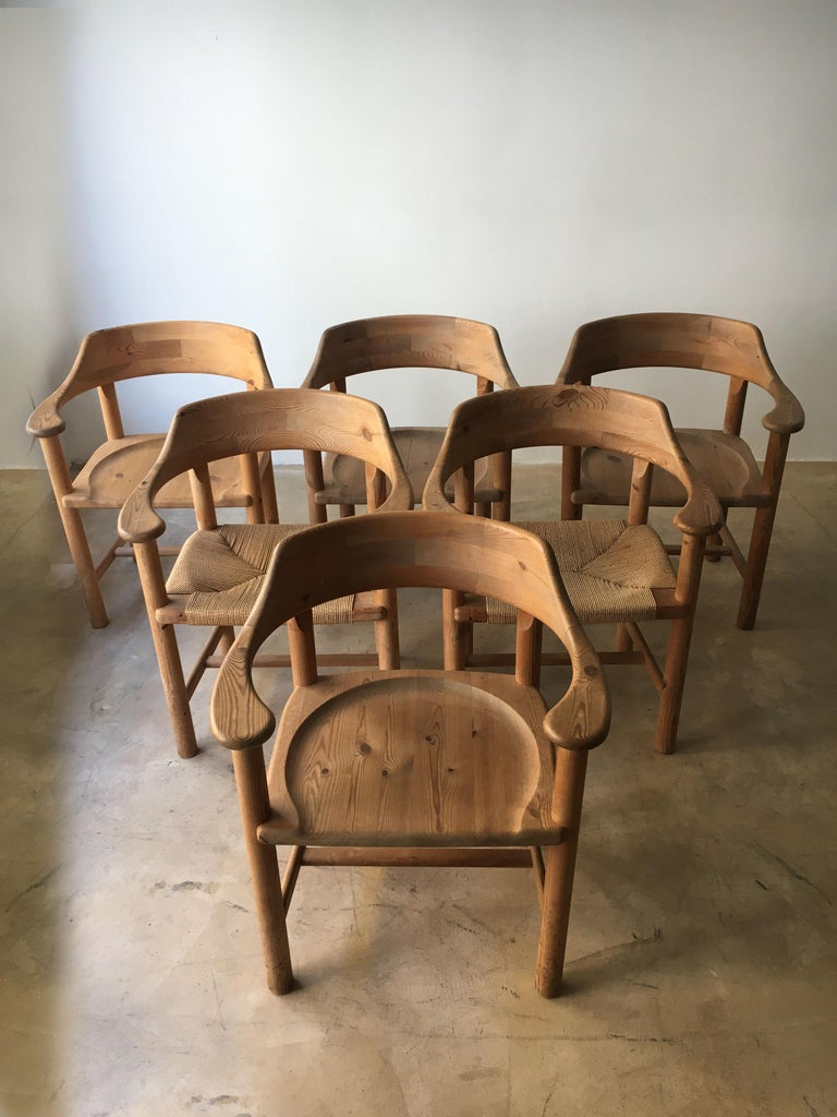 Rainer Daumiller Set of Six Pine and Cord Chairs, Denmark, 1970s For Sale 14