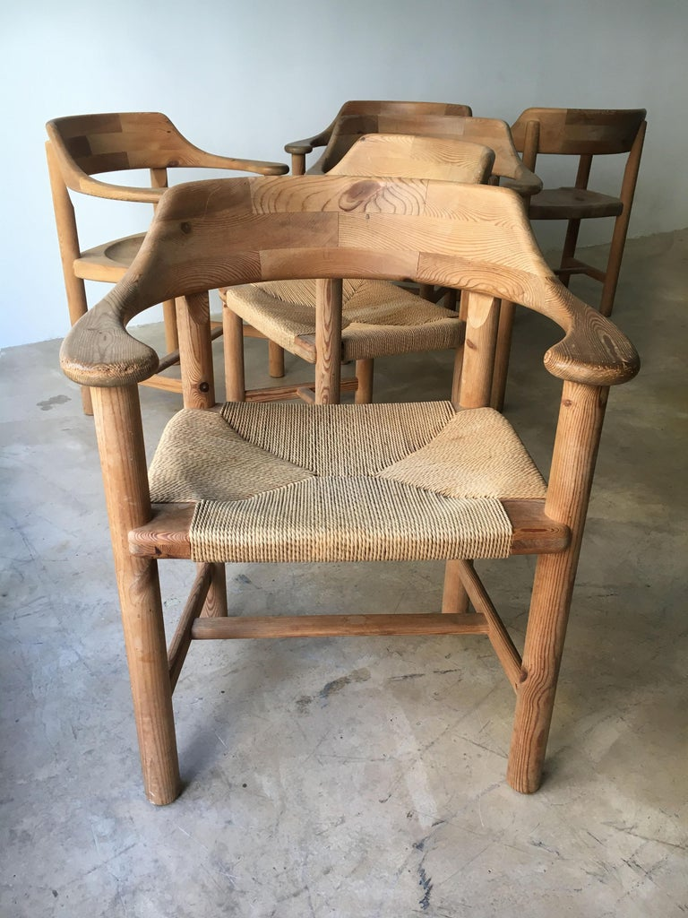 Mid-Century Modern Rainer Daumiller Set of Six Pine and Cord Chairs, Denmark, 1970s For Sale