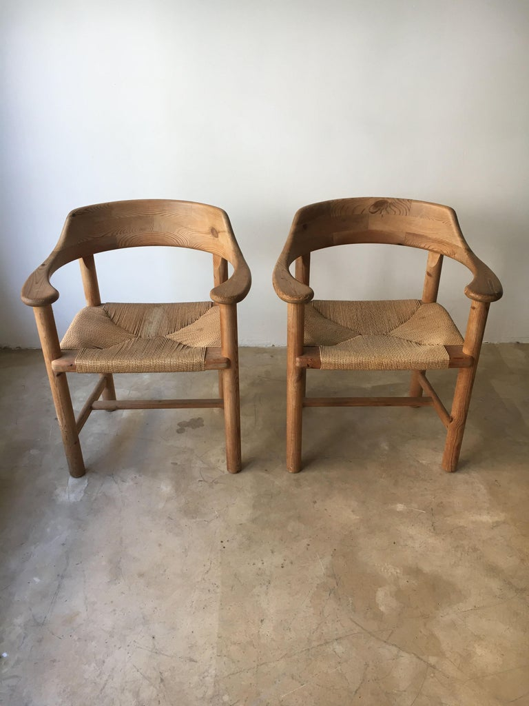 Danish Rainer Daumiller Set of Six Pine and Cord Chairs, Denmark, 1970s For Sale