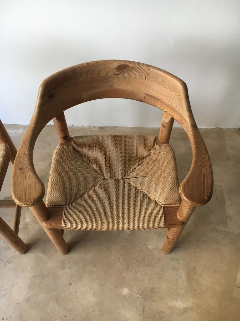 Rainer Daumiller Set of Six Pine and Cord Chairs, Denmark, 1970s For Sale 1