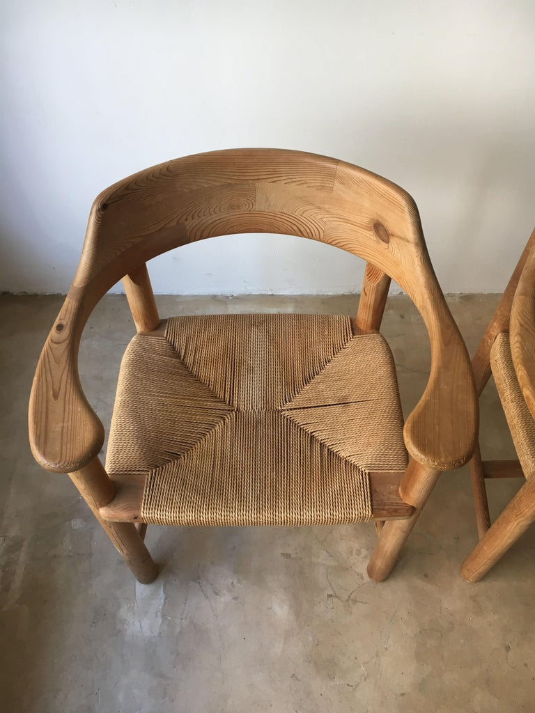 Rainer Daumiller Set of Six Pine and Cord Chairs, Denmark, 1970s For Sale 2