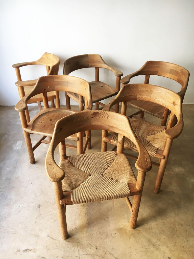 Rainer Daumiller Set of Six Pine and Cord Chairs, Denmark, 1970s For Sale 3