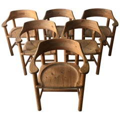 Rainer Daumiller Set of Six Pine and Cord Chairs, Denmark, 1970s