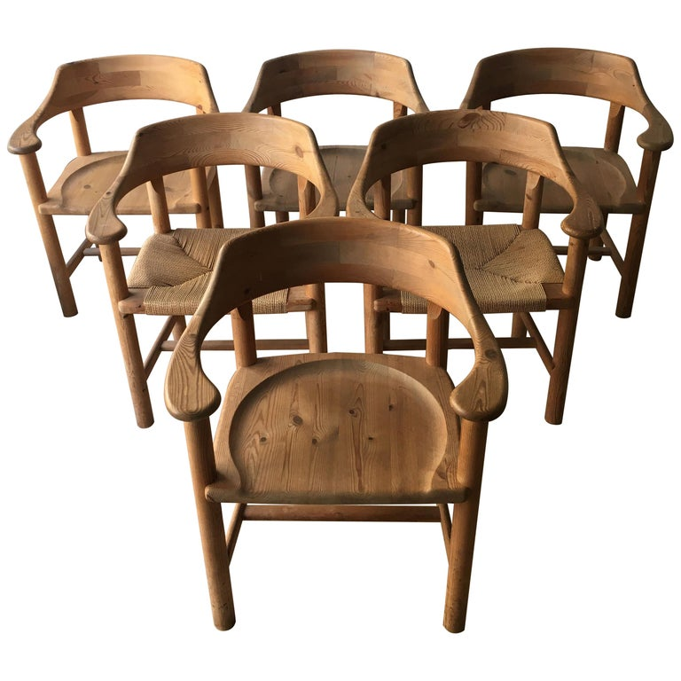 Rainer Daumiller Set of Six Pine and Cord Chairs, Denmark, 1970s For Sale