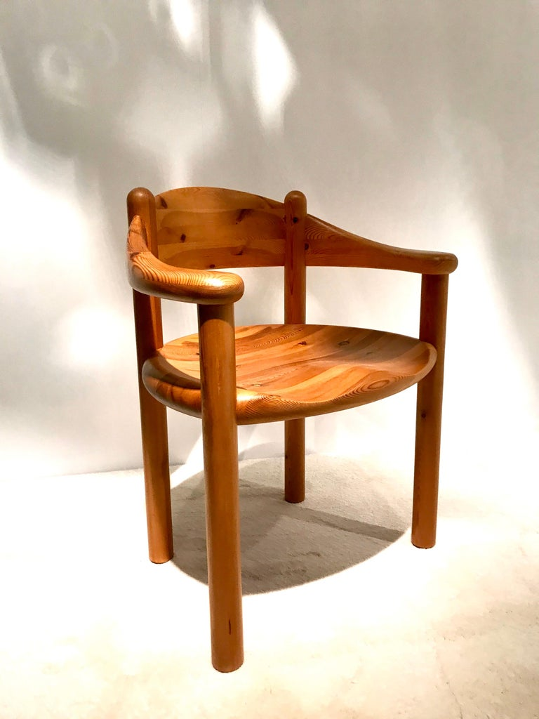 Rainer Daumiller was a Swedish architect very active in midcentury and well-known for his high quality wooden furniture designs:a prime example of Scandinavian artist. This set of ten chairs is made in a beautiful Pine wood and manufactured by