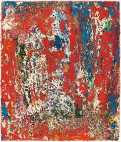 Red Abstract pressed pigment painting from 2005 by Rainer Gross