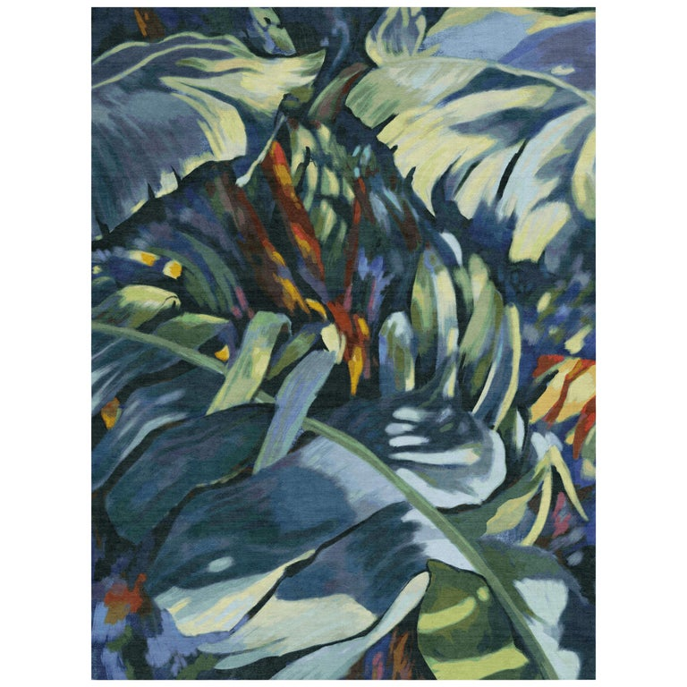 Rainforest - Beautiful Colorful Hand Knotted Wool Rug For Sale
