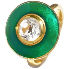 Rainforest Green Aurora Ring Vitreous Enamel 18 Karat Yellow Gold White Topaz
