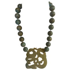 Rainforest Jasper (Tan Sage Green) Milky White Agate Dragon 925 Silver Necklace