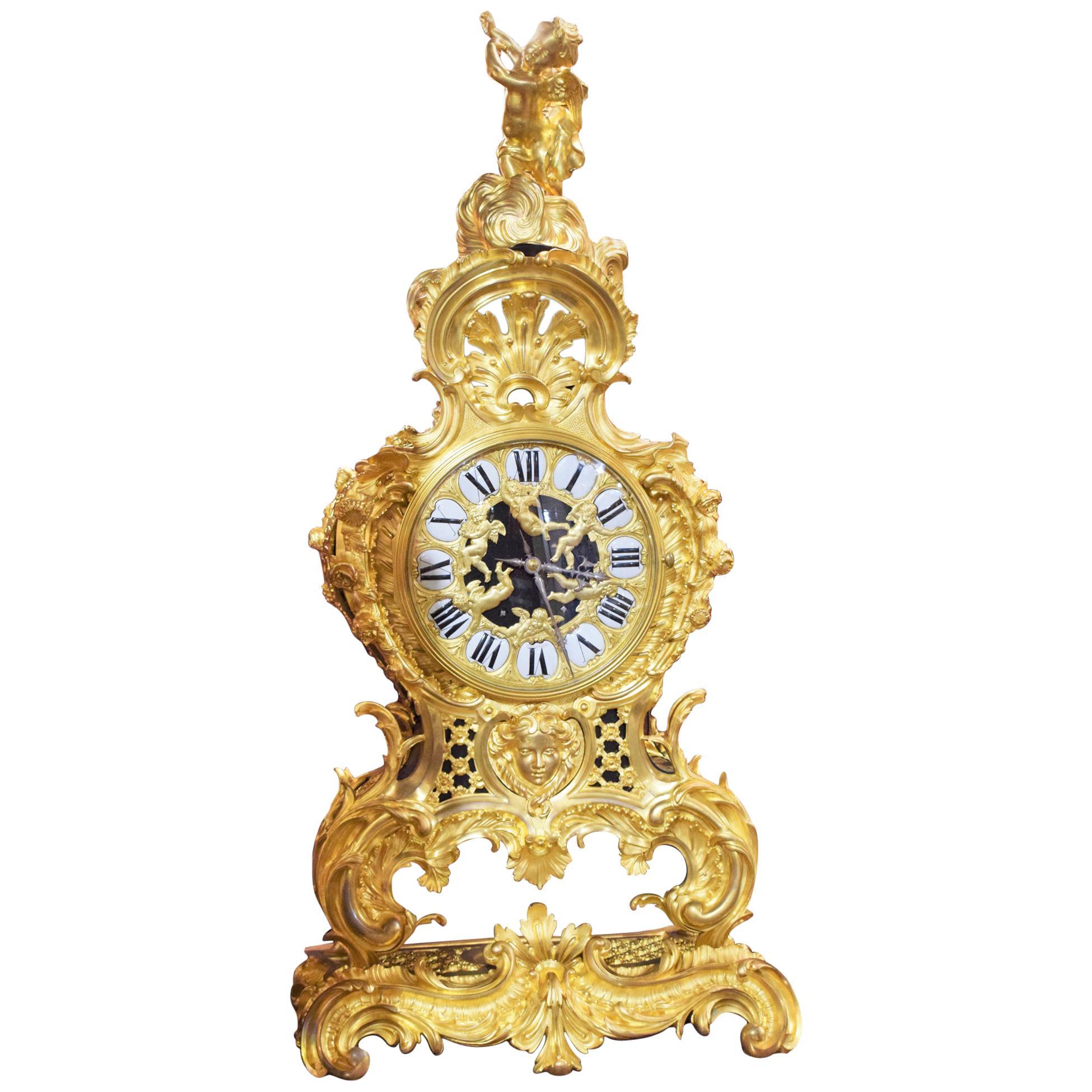 Raingo Freres Gilt Bronze Clock