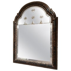 Raised Chinoiserie Mirror with Carved and Beveled Section Mirror