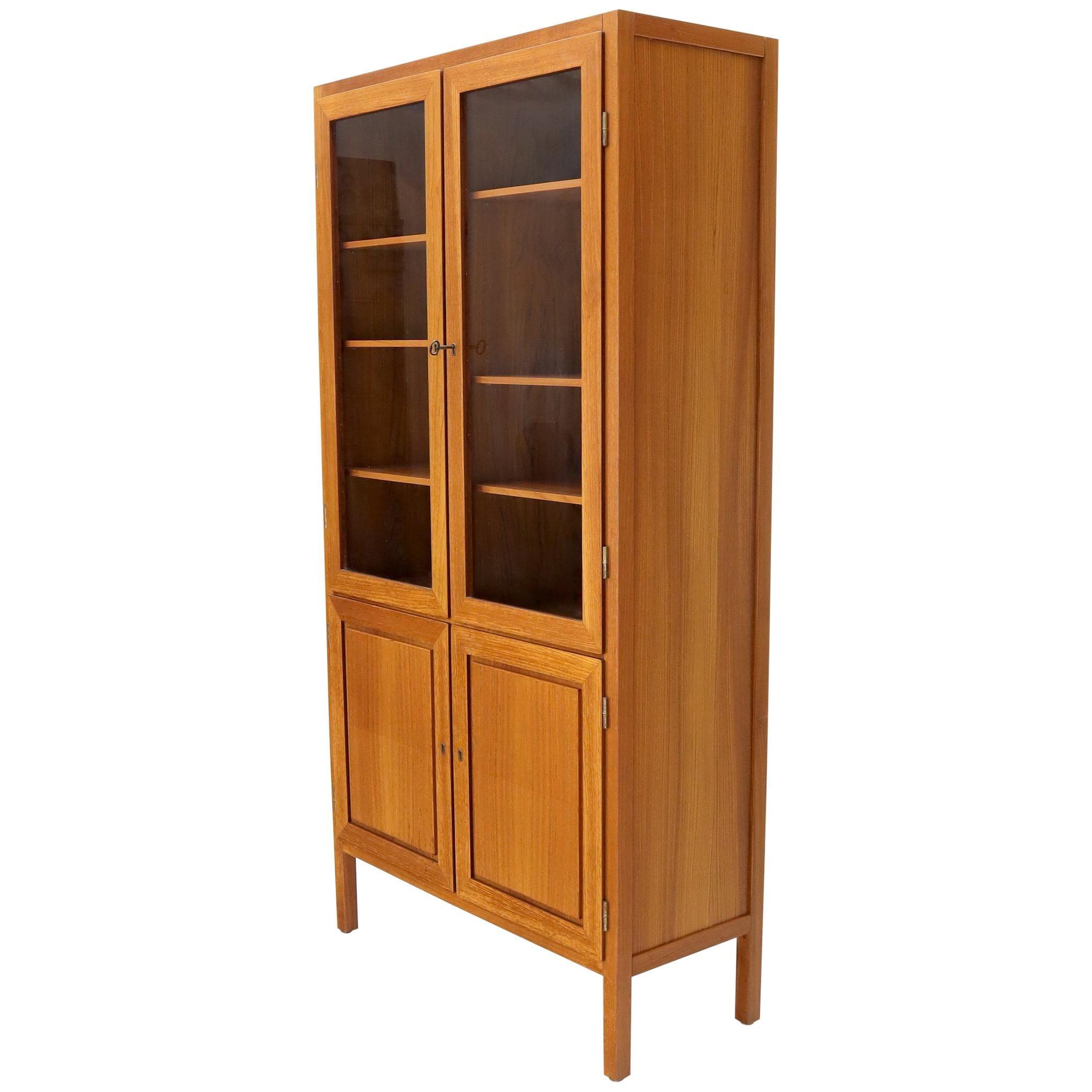 Raised Panel Teak and Glass Doors Danish Mid-Century Modern Cupboard Cabinet