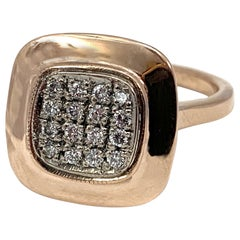 """Raised Platform """"Predicta"""" Ring with Pavé Diamond Grid in Rose Gold Mounting"""