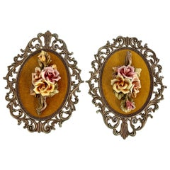 Raised Porcelain Medallions in Frames, a Pair Made in Italy