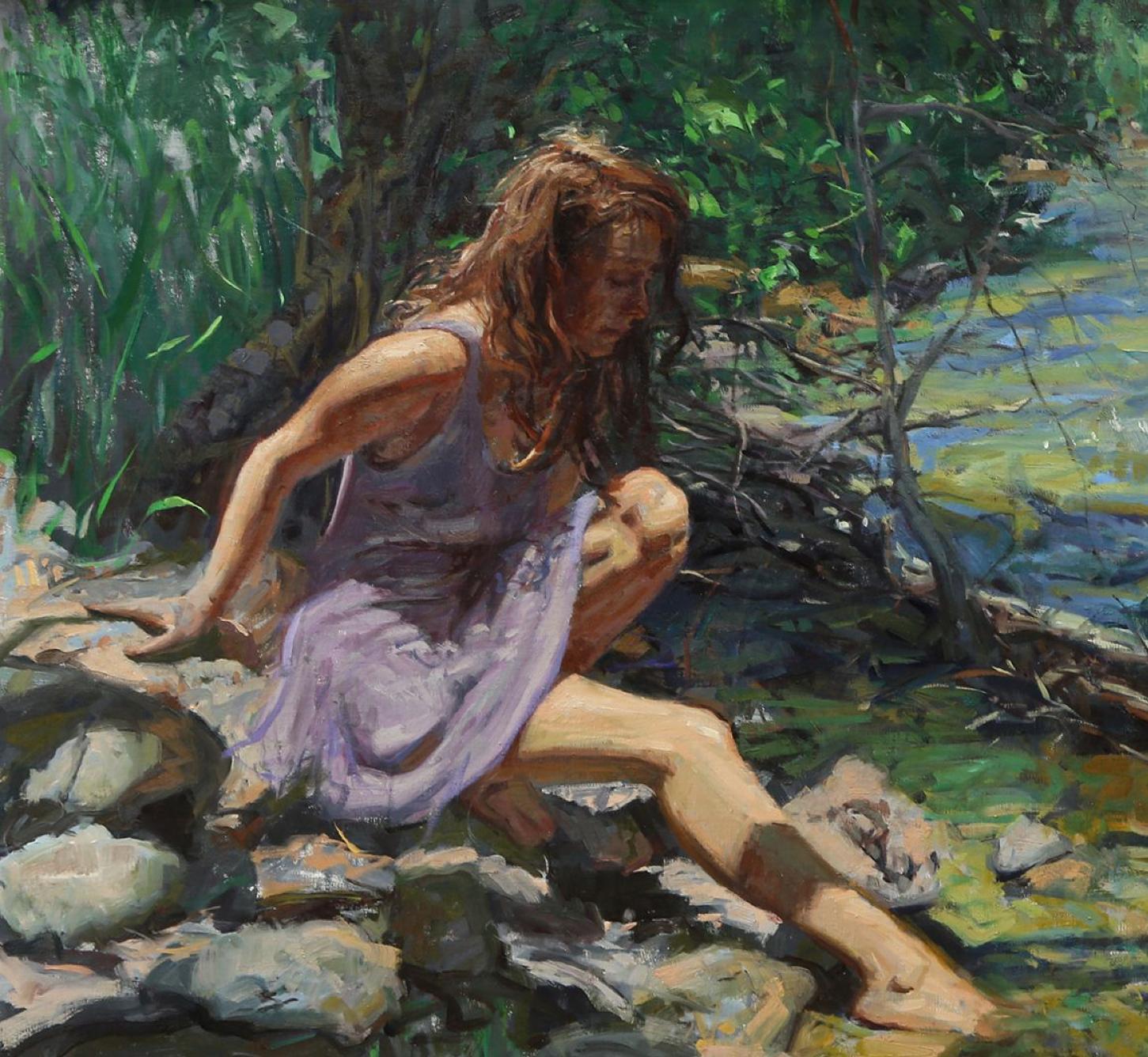 Childhood Brook, oil ,American Impressionistic, Colorado, New Orientalist, India