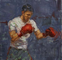 Fighter in Red, oil painting, American Impressionistic, Pro-Boxer ,Boxing