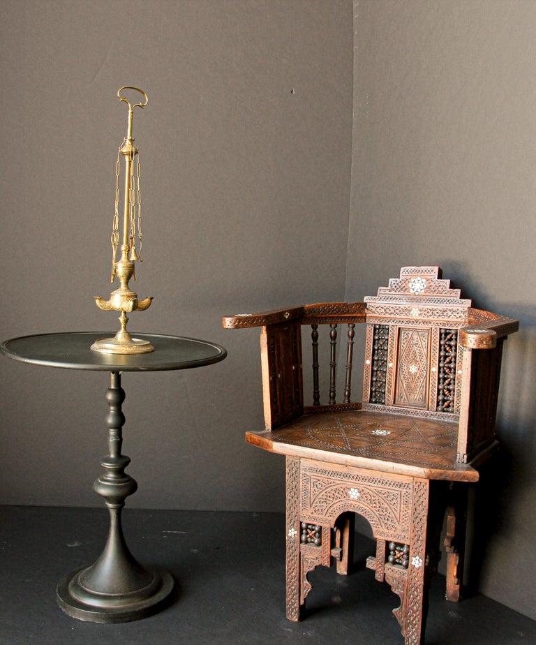 Moorish Rajasthan India Brass Oil Lamp For Sale