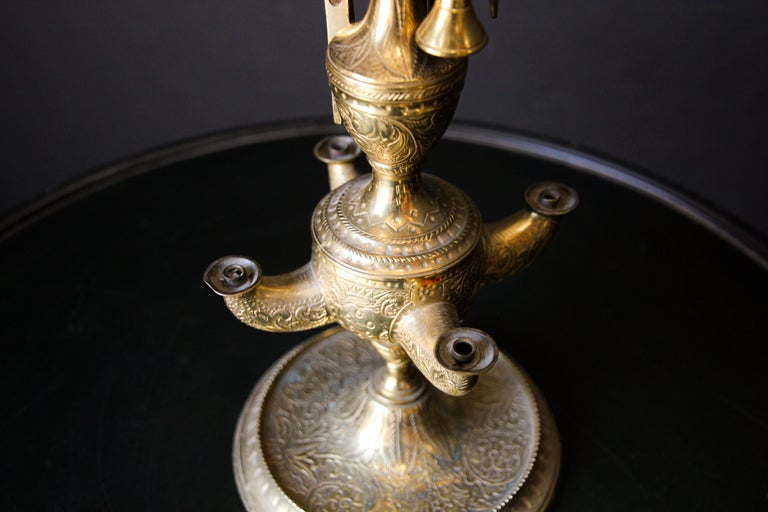 20th Century Rajasthan India Brass Oil Lamp For Sale