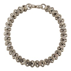 Rajasthan India Silver Chain Decorative Link Bracelet with Simple Hook Fastening