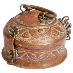 Rajasthani Decorative Brass Lidded Tea Caddy Box