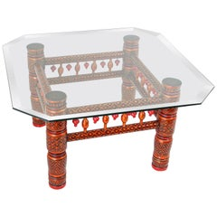 Rajasthani Red Coffee Table with Glass Top, India