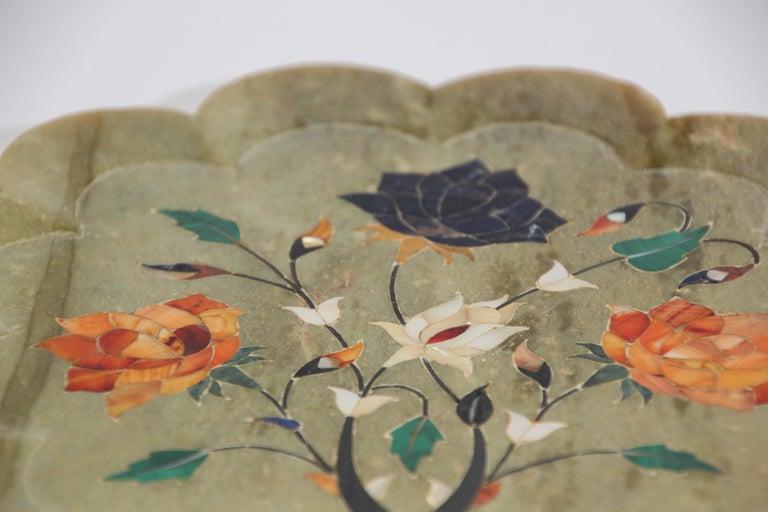 Agra Rajasthani Stone Marble Inlay Taj Mahal Pietra Dura Decorative Plate For Sale