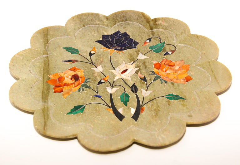Rajasthani Stone Marble Inlay Taj Mahal Pietra Dura Decorative Plate For Sale 1