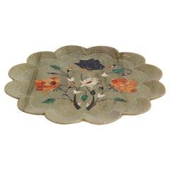 Rajasthani Stone Marble Inlay Pietra Dura Decorative Plate