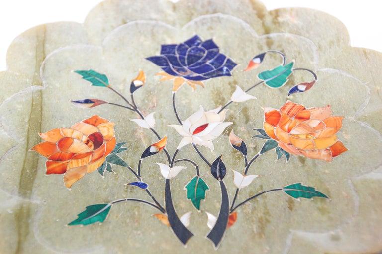 Rajasthani Stone Marble Inlay Taj Mahal Pietra Dura Decorative Plate For Sale 5
