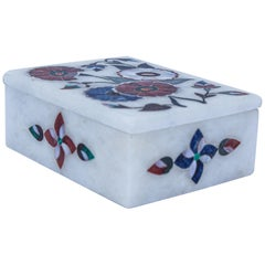 Rajasthani White Marble Inlay Trinket Box Pietra Dura