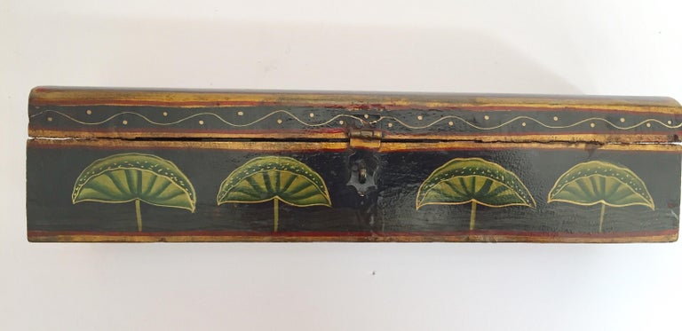 Rajhastani Hand Painted Decorative Box Black with Floral Designs For Sale 2