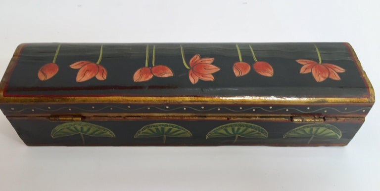 Rajhastani Hand Painted Decorative Box Black with Floral Designs For Sale 4
