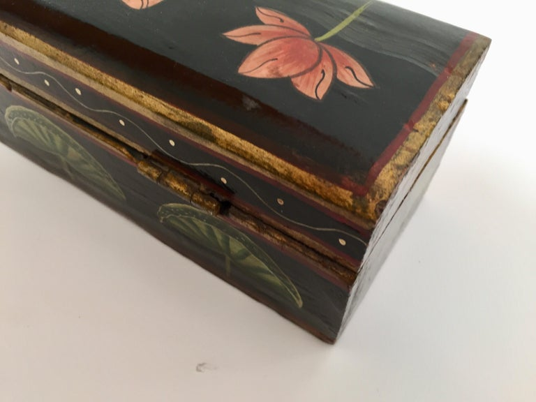 Wood Rajhastani Hand Painted Decorative Box Black with Floral Designs For Sale