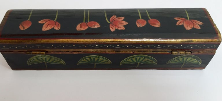 Rajhastani Hand Painted Decorative Box Black with Floral Designs For Sale 1