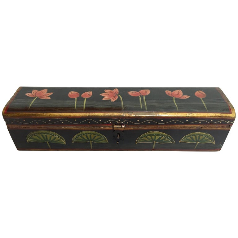 Rajhastani Hand Painted Decorative Box Black with Floral Designs For Sale