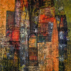 Spaces in Transition, Acrylic & Charcoal on Archival Paper, Contemporary Artist