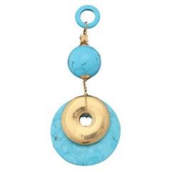 Rajola Jewelers 1980s Turquoise Double Disc Geometric Gold Pendant Necklace