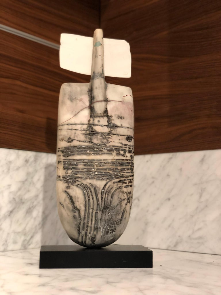 Raku Figure, Unique Handmade Ceramic Obelisk Sculpture with Porcelain Wings For Sale 3