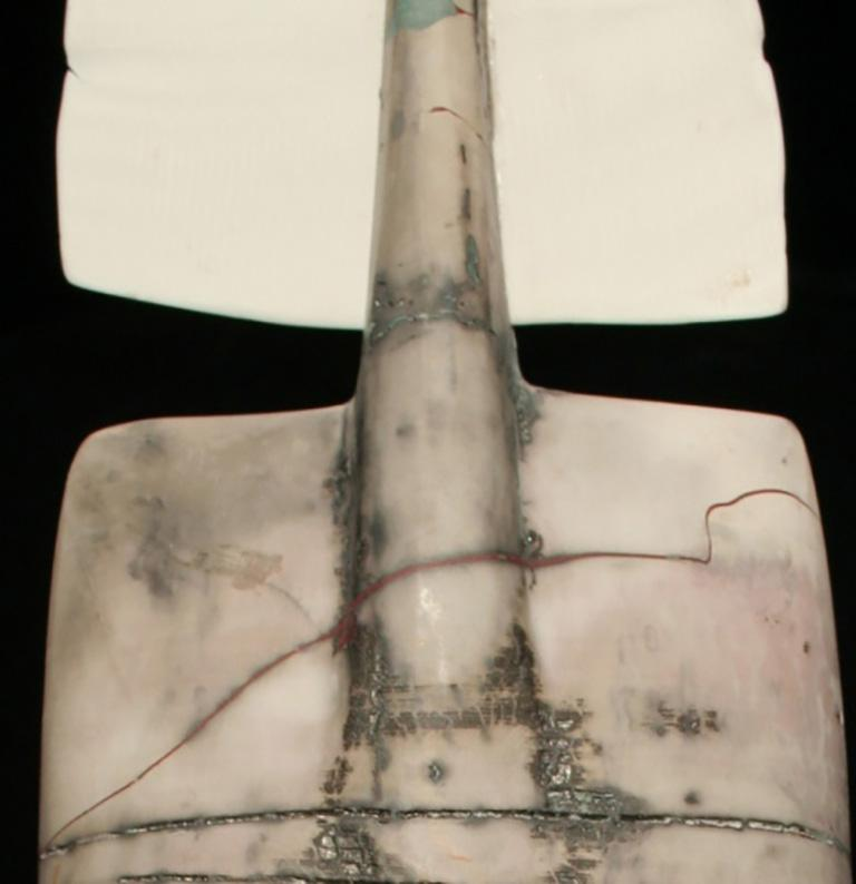 American Raku Figure, Unique Handmade Ceramic Obelisk Sculpture with Porcelain Wings For Sale