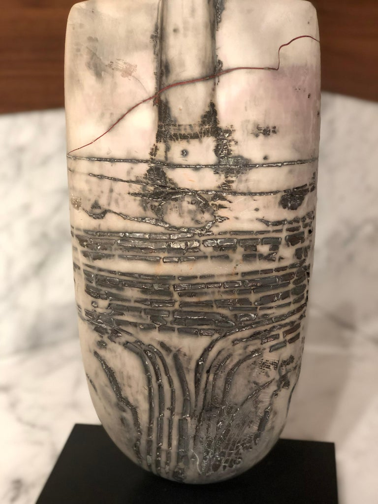 Contemporary Raku Figure, Unique Handmade Ceramic Obelisk Sculpture with Porcelain Wings For Sale