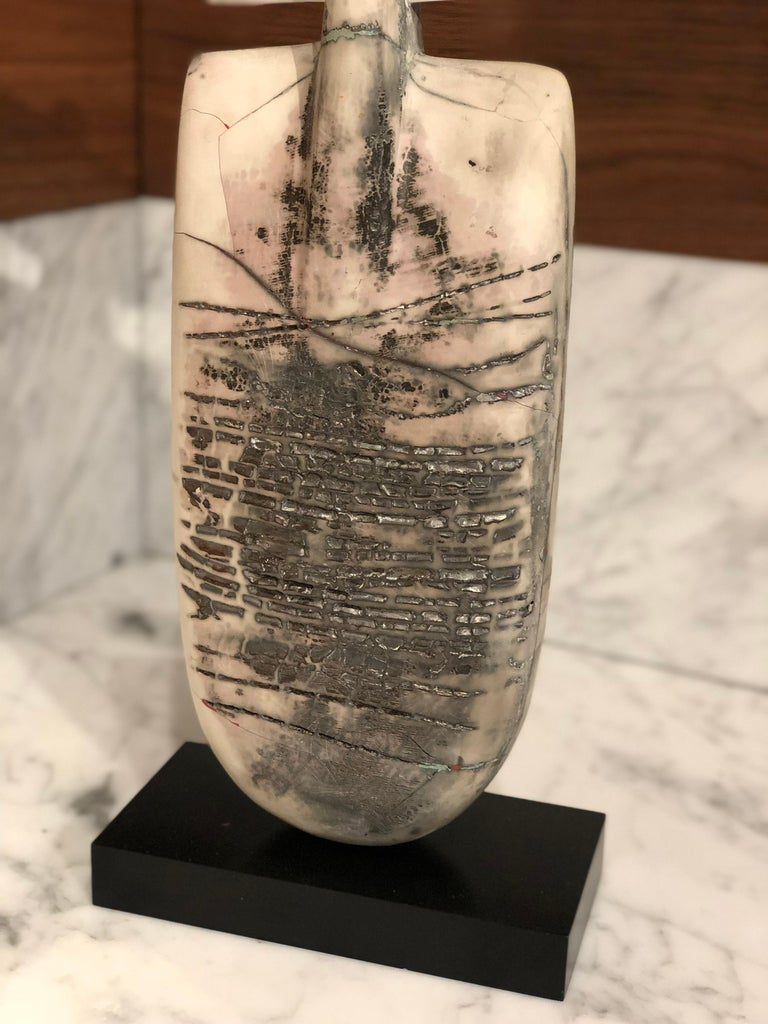 Raku Figure, Unique Handmade Ceramic Obelisk Sculpture with Porcelain Wings For Sale 1