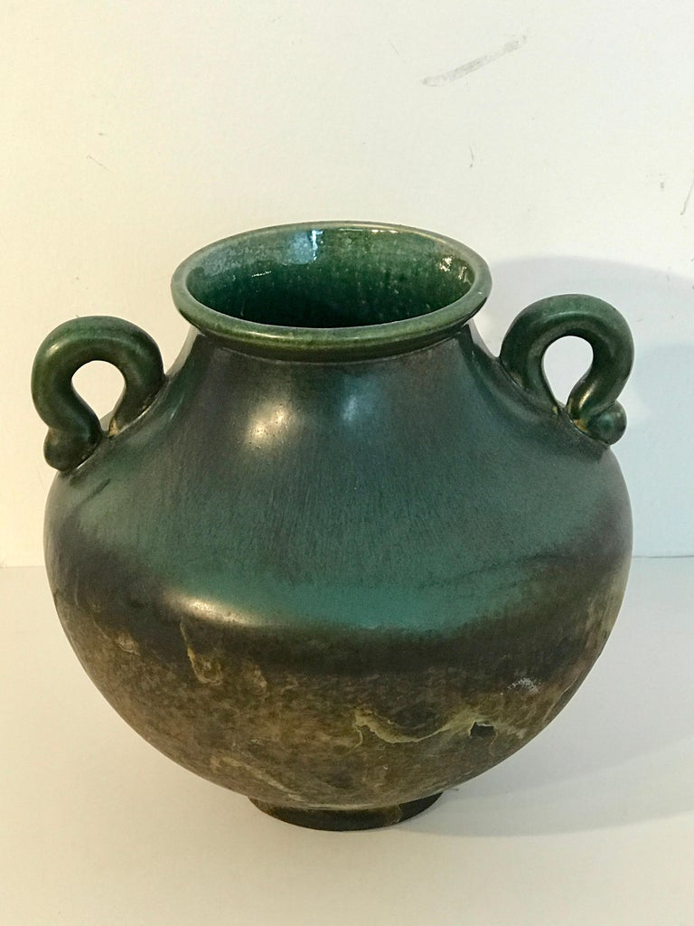 Raku Pottery Classical vase, by Tony Evans, with twin handles, 4.5