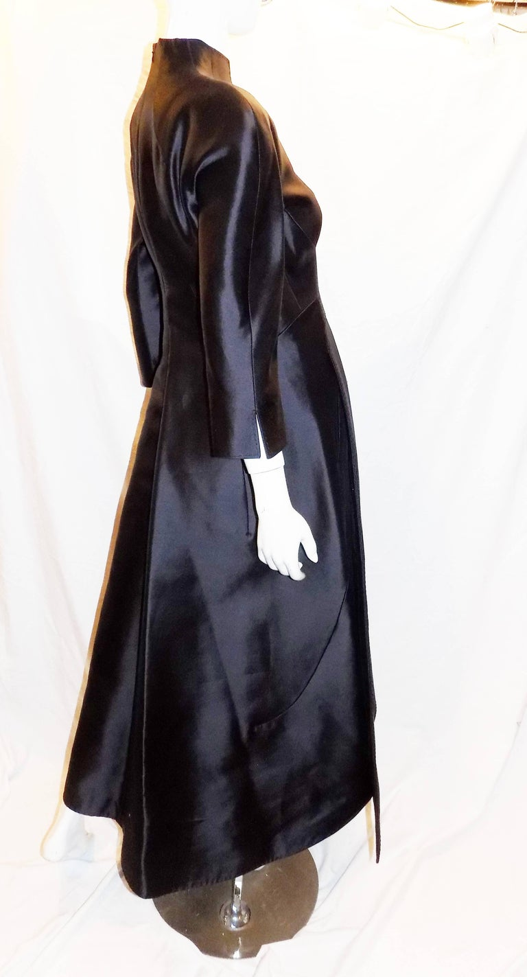 Ralp Rucci Chado Black Silk Long sleeve evening Gown For Sale at 1stdibs