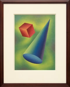 Basic Form Problem #2 Original Blue, Green Abstract Painting by Ralph Anderson