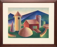 Untitled (Farm) Original Abstract Landscape by Ralph Anderson circa 1940