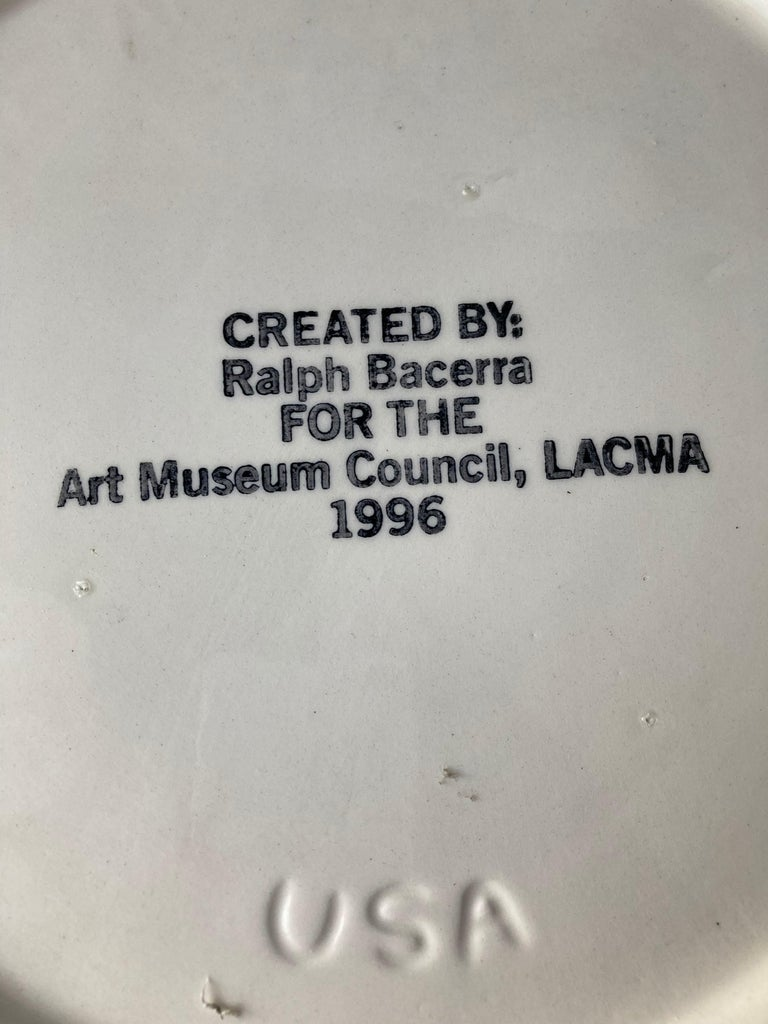 Post-Modern Ralph Bacerra Large Ceramic/Pottery Charger/Plate with Gold Glaze, Signed For Sale