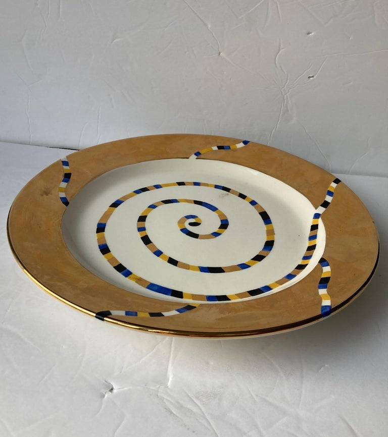 Hand-Crafted Ralph Bacerra Large Ceramic/Pottery Charger/Plate with Gold Glaze, Signed For Sale