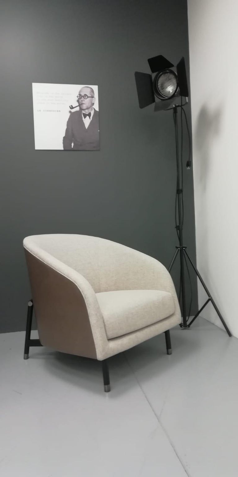 Modern Contemporary Armchair by Fabio Arcaini Metal and Leather Seating For Sale