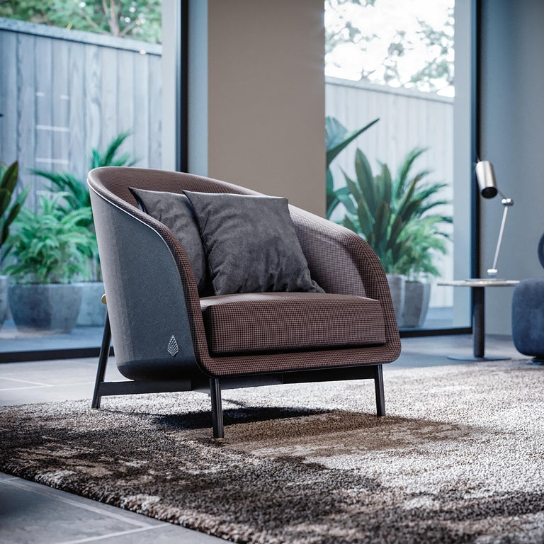 Italian Contemporary Armchair by Fabio Arcaini Metal and Leather Seating For Sale