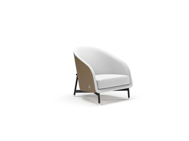 Hand-Crafted Contemporary Armchair by Fabio Arcaini Metal and Leather Seating For Sale